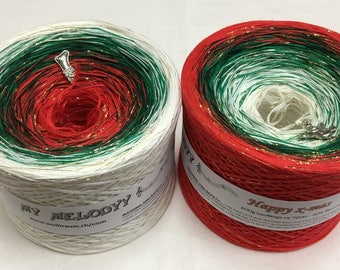 Happy Xmas - Christmas Yarn - Holiday Yarn - Gradient Yarn - Wolltraum Yarn - Crafty Gift - Yarn Gift - Ombre Yarn - Glitter Yarn