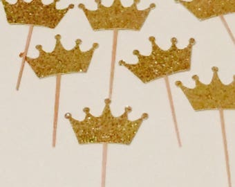 Glittered crown cupcake toppers, princess cupcake toppers, first birthday toppers, sparkly cupcake toppers, Prince toppers, crown toppers