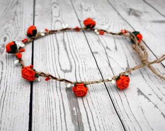 Flower crown, Orange floral crown, Festival crown, Flower garland, Rustic style, Boho crown, Flower girl, Made by little woodland creations