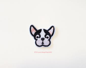 1x DOG face PATCH cute french bouledogue bulldog frenchie breed Iron On Embroidered Applique white black pet animal head
