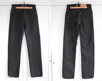 LEVI'S 505 Vintage High Waisted Retro jeans Classic black denim trousers Women Men Unisex pants 1980s clothing fashion W30 L34 / Medium size