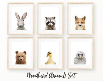 Woodland Nursery Set, Cute Animal Nursery Decor, Woodlands Printable Art, Woodland Digital Print, Digital Download, Nursery Animal Decor