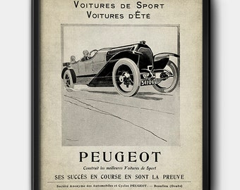 Peugeot · 1920s · French Advertisement · Instant Download · Vintage · Automobile · Printable #204