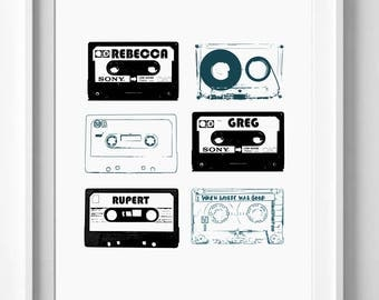 Cassette tape print - Personalized mixed tape wall art - Retro couple gift - Digital download - personalized family gift - 90s gift