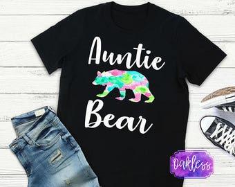 Auntie Bear Tshirt Cute Aunt Shirt Gift