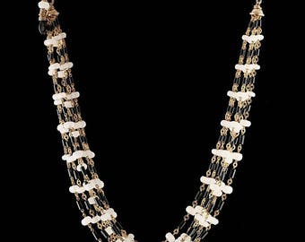 Black Agate and Moonstone Multistrand Necklace