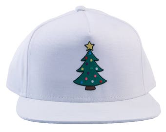 Frosted Matte Christmas Tree Embroidered Hat