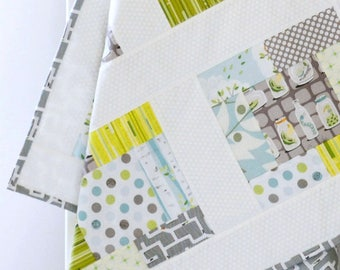 Crib Quilt Baby Boy, boy nursery quilt, gray, yellow, orange, bugs, birch trees, shower gift, modern patchwork baby quilt, homemade quilt