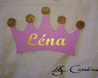 Wooden pink and gold glitter and personalized Princess Crown