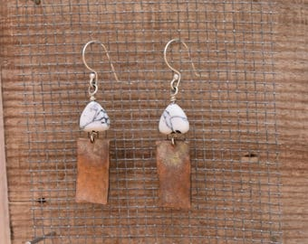 Hammered copper drop earrings with Howlite