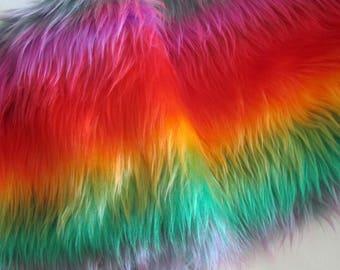 Strip of Faux Fur Rainbow, Long Pile Faux Fur Fabric Craft