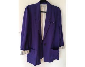 90s Blazer/ Purple Blazer/ Pinstripe Blazer/ Oversized Slouchy Blazer/ Vintage Jacket