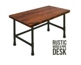 Desk, Pipe Desk, Industrial Style Desk, Chic Rustic Wood Desk, Urban Wood Desk, Office Desk, Computer Desk, Wood Desk