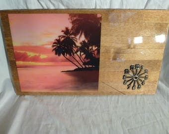 Tropical Sunset Wood Clock