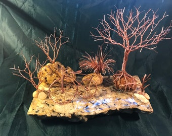 Old Fashioned BigWheel Bicycle Scene Number 7, Twisted trees, wire trees, wire sculpture, copper sculpture, men's gifts, man cave gifts,