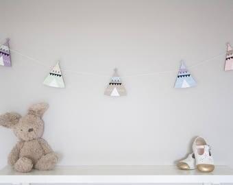 Teepee bunting, teepee garland, pastel nursery decor, new baby gift, kids room, wooden bunting, playroom decor