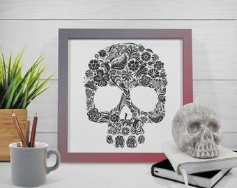 Skull Flowers art print Inspirational modern poster. Wall art  Black & White poster. Modern decor print. Free worldwide shipping.