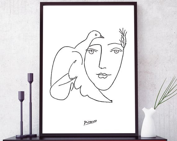 Picasso Line Drawing Face : Picasso dove print sketches face