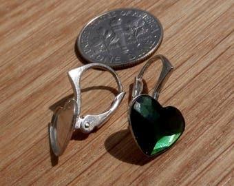 Luxury, Sterling Silver, Lever Back, Ear, for, Swarovski Crystals, 2808, Heart, Flat, 10mm