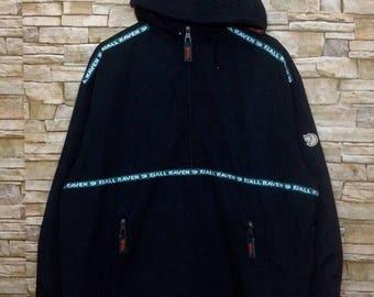 OFF 20% SALE RARE!! Vintage Fjallraven canvas outdoor/hiking hoodie jacket 90s