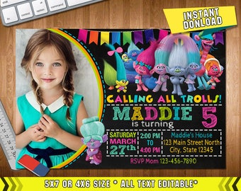 Trolls Invitation, Trolls Invitations, Trolls Birthday, Trolls Party, Trolls Card, Trolls Printable, Trolls Birthday Party, Trolls, Girl