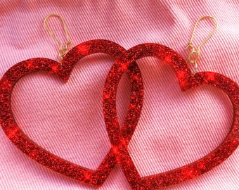 Large Kitsch Kawaii Valentines Red Glitter Oversized Heart Dangle Earrings