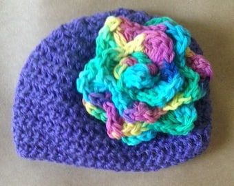 Baby beanie hat with rose