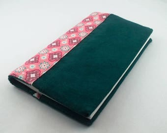 Reversible teal and cotton velvet fabric checkbook cover pink retro/vintage