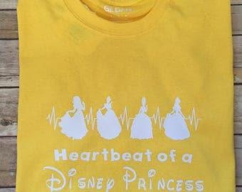 Heartbeat of a Disney Addict Shirt * Disney Princess Shirt * Disney Heartbeat Shirt * Cinderella * Tiana * Sleeping Beauty * Belle