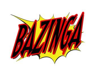 T-SHIRT: Big Bang Theory / Bazinga - Classic T-Shirt & Ladies Fitted Tee - (LazyCarrot)