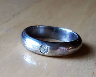 Zircon silver band ring