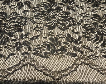 """Black with Gold lurex both edges scalloped Lace fabric 55(scallop to scallop)/60"""" by yard"""