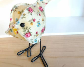 Fabric bird, yellow floral, fabric bird, cute stuffed bird, cloth birdie, stuffed animal, bird collection, bird, birdie, yellow bird
