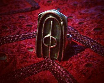 GATEWAY Sterling silver handmade original gothic dark lines gate ring size 7.5