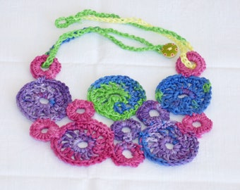 crochet necklace, colorful multicolor handmade necklace, elegant flower necklace, summer necklace, statement necklace, crochet jewelry