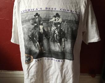 Vintage 90's David Stoecklein Pure Cowgirls T-Shirt L