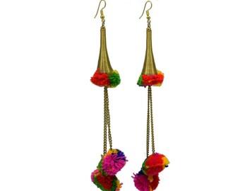 Beautiful Tassel Earrings || Yarn Earrings || Gifts For Her || Good Length Earrings