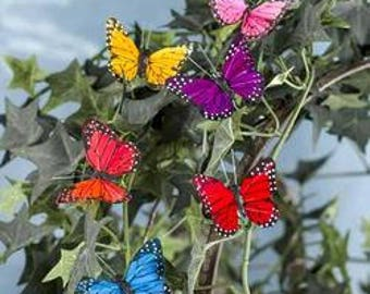 Package of 12 Assorted Color Artificial Monarch Feather Butterflies