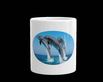 Dolphins jumping coffee mug-coffee mug-tea mug-beach coffee mug-11 oz coffee mug-15 oz mug-coffee and tea mug-gift mug