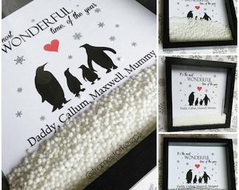 Penguin Family Silhouette Christmas Box Frame