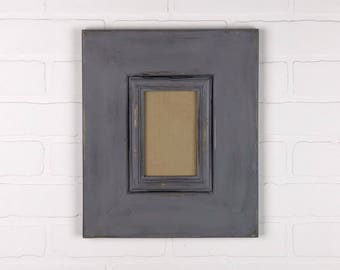 READY TO SHIP - Antiqued Gray 4x6 Picture Frame - Hang Portrait Or Landscape