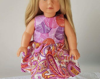 Purple Paisley Dolls Dress and Knicker Set