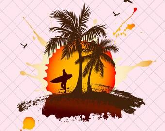 Hawai Svg/ Hawai Svg File/ Hawai Sunset/ Sunset/ Hawai/ Surf Clipart Svg/ Surf Svg File/ Surfing PNG/ Surfing Svg Files/ Hawai Surfing png
