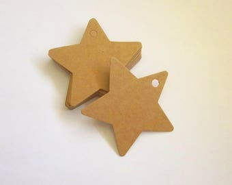 20 star shaped kraft tags Favor tag wedding and christmas decoration Handmade gift card