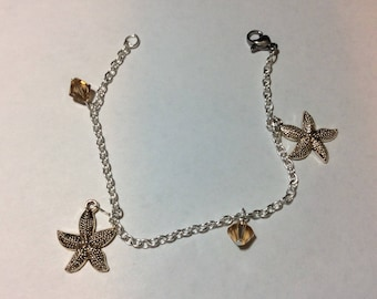 "Bracelet for women ""Starfish and Austrian Crystal"""