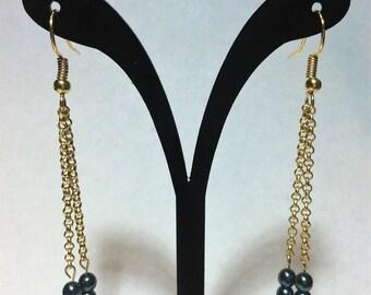 """Earrings """"golden chains falling"""""""