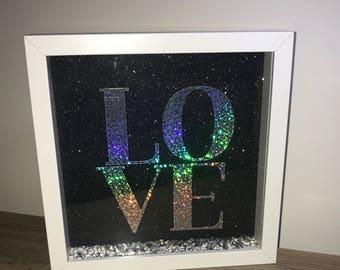 LOVE Silver Holographic Glitter Box Frame