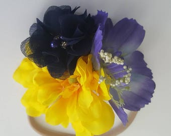 Purple, Yellow & Navy Floral Cluster Headband