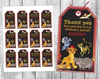 Lion Guard Thank You Tags, Lion Guard Favor Tags, Lion Guard Gift Tags, Lion Guard Tags, Tag Printable, Birthday Tags, Printable Tags