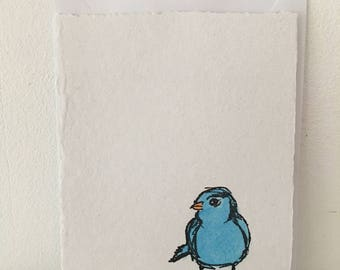 Five Blue Bird Greeting Cards, Cards, Greeting Cards, Bird Cards, Hand Painted Cards